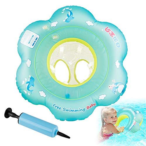 ORLEGOL Baby Schwimmring, Baby Schwimmen Ring Baby Schwimmhilfe mit Schwimmsitz, Kleinkind Baby Schwimmt Aufblasbarer Kinder Schwimmreifen Schwimmring für Baby von 6 bis 18 Monaten mit Pumpe-S
