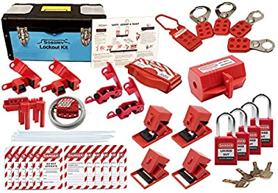 SOSAMV Lockout Tagout Kit – Premium Quality Safety Padlocks, Haps, Breaker Lockout, Ball Valve Loto – Circuit Breaker, Plug Loto, Cable Loto, Loto Tags, Gate Valve Loto - Toolbox kit with 47 component by Orion product
