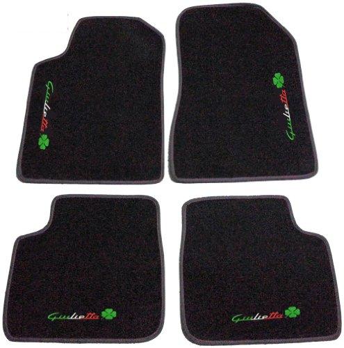 SonCar Ensemble complet de tapis en moquette noire avec bord anthracite et broderies pour voiture Bianco