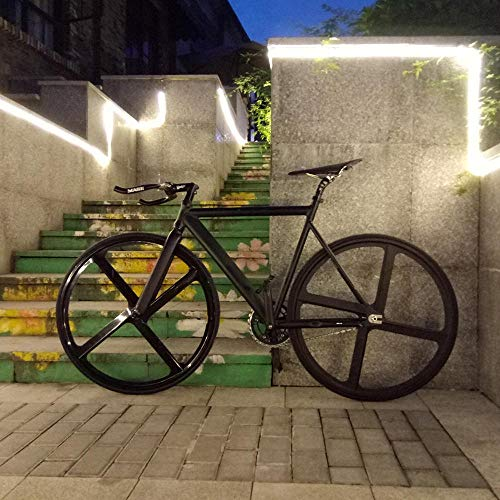 Fixie Bike Urban Track Bike Frame with Aluminum Fork 4 Spokes Magnesium Alloy Rim Road Bicycle Fixed Gear Bike Single Speed-Matte Black 53CM