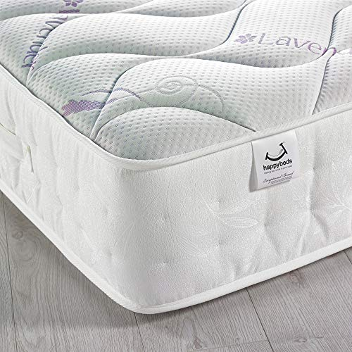 Lavender and Memory Foam, Happy Beds 3000 Pocket Sprung Medium Firm Tension Mattress with Reflex Foam - 5ft UK King (150 x 200 cm)