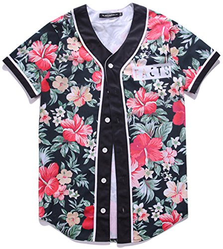 HOP FASHION Youth Unisex Boy Girl Baseball Jersey Short Sleeve 3D Floral Print Dance Team Uniform Tops Shirt HOPM007-04-L