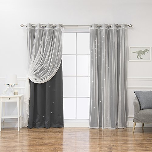 """Best Home Fashion uMIXm Tulle & Star Cut Out Blackout Curtains - Dk.Grey - 52"""" W x 84"""" L - (2 Curtains and 2 Sheer Curtains)"""