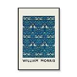 William Morris Vintage Floral Birds Wall Art Picture Museo Exposición Carteles e impresiones Familia Sin marco Lienzo Pintura A1 40x60cm
