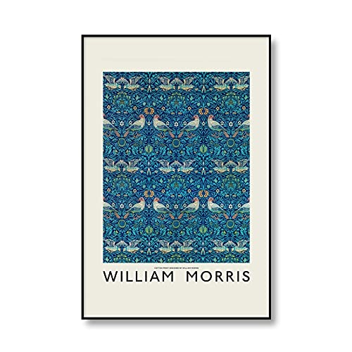 Carteles e impresiones de exposición de pájaros y flores Vintage de William Morris, cuadros artísticos familiares, pinturas en lienzo sin marco A 30x45cm