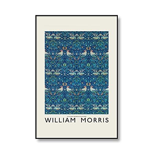 William Morris Vintage Floral Birds Wall Art Picture Museo Exposición Carteles e impresiones Familia Sin marco Lienzo Pintura A1 70x100cm