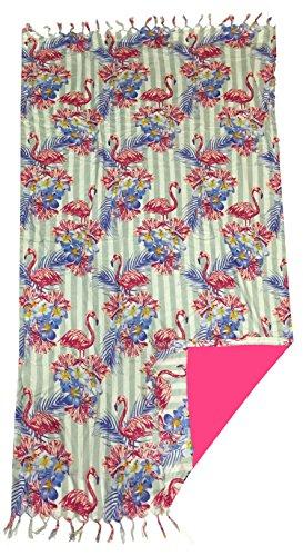 TEXTIL TARRAGO Toalla pareo estampada gigante flamencos rosa 140x170 cm doble