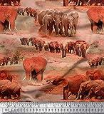 Soimoi Orange Viskose Chiffon Stoff Baum & Elefant Tier