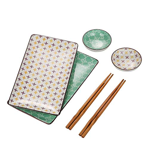 piatti servizio 2 persone vancasso Tulip Set Piatti Sushi in Ceramica 6 pezzi Stile Giapponese Servizio da Sushi per 2 persone Con 2 Ciotole Riso 2 Piattini per Salse 2 Piatti da Sushi 2 Bacchette di bambù Colore Verde Beige