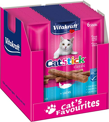 Vitakraft Cat-Stick Mini Salmone, 60 pezzi (10 bustine da 6 stick)