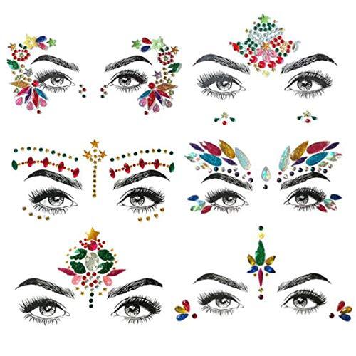 TANGGER Juwelen Aufkleber Gesicht Strass Tattoo Körper Juwelen Sticker Bunt Festival Glitter Edelstein Für Parties Shows Make-Up Gesicht Körper Stirn Dekorationen(6 Pack)
