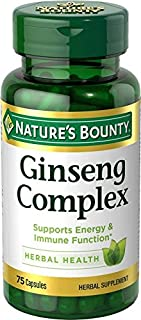 Nature's Bounty Ginseng Complex Pills and Herbal Health Supplement, Supports Energy and Immune Function, 75 Capsules