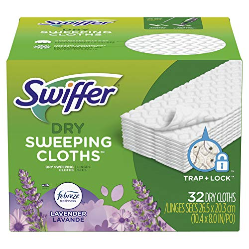 Swiffer Sweeper Dry Sweeping Pad, Multi Surface Refills for Dusters Floor Mop, with Febreze Lavender, 32 Count