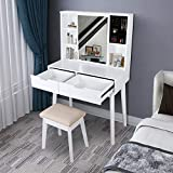 Vanity Set with Moving Mirror & Cushioned Stool Dressing Table Vanity Makeup Table, 2 Sliding Drawers,5 Storage Shelves, Jewelry Armoire Makeup Organizer Vanity Desk (White)