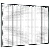 Lockways magnetisch Jahreskalender Whiteboard- 90x120cm Schreibtafel Weißtafel schwarz Alurahmen...