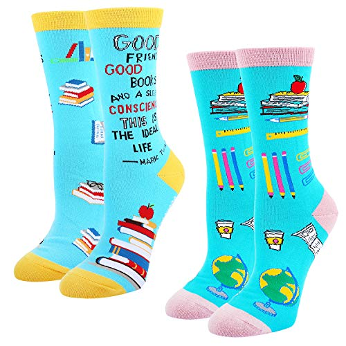 HAPPYPOP Reading Book Socks for Women, Teacher Nerd Librarian Book Lover Bookworm Gift