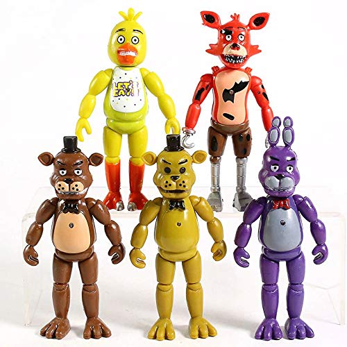 Set of 5 pcs FNAF Action Figures Toys Dolls Gifts Cake Toppers, 6 inches