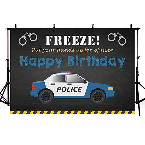 Mehoufoto Polizei-Geburtstagsparty-Hintergrund, Requisiten Polizist, Junge Happy Birthday, Schwarz und Blau, Polizeiauto, Fotohintergrund, für Kuchen, Tisch, Zubehör 17,8 x 152 cm