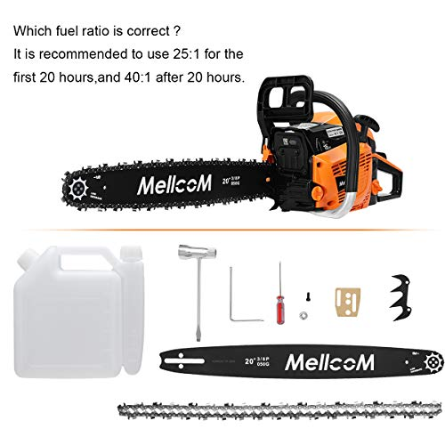 MELLCOM 62CC 2-Cycle Gas Powered Chainsaw, 20-Inch 2 Stroke Handed Petrol Chain Saw for Farm, Garden and Ranch,Cutting Trees, Wood