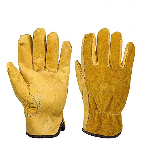 JZK Resistenti guanti da giardinaggio anti spine in pelle uomo, XL guanti da lavoro in pelle gialli, guanti giardinaggio antispine, extra grande