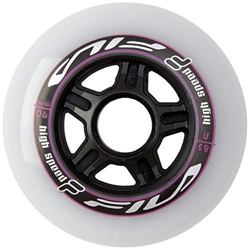 FILA Skates Wheels Rollenset für Rollschuhe Unisex Kinder, Unisex Kinder, 60760296, Bianco/Magenta, 6x90mm/83A