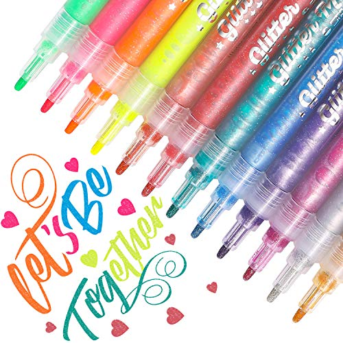 Dyvicl Glitter Markers Paint Pens, Fine Point Glitter Paint Pens for Rocks,...