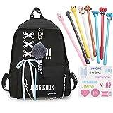 Goth Perhk Kpop BTS Sac à dos d'école, sac à dos d'école, sac à dos de l'école et 8 stylos BTS + 1 feuille d'autocollant BTS...