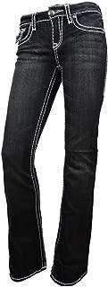 LA Idol Women Bootcut Jeans White Bold Whip Stitching Stretch Flap Pocket