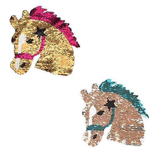 Leisial Pferdekopf Aufnäher,Wendepailletten Patch Pailletten Aufnäher Pferd Wendepailletten Aufnäher Aufkleber Applikationen