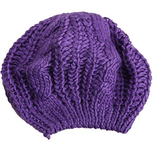 WANGSOAR Fashion Women's Lady Beret Braided Baggy Beanie Crochet Warm Winter Hat Ski Cap Wool Knitted Purple