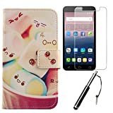 Lankashi 3in1 Set Lovely PU Flip Leder Tasche Für Alcatel One Touch Pop 4 Plus 5.5