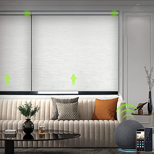 Yoolax Jacquard Elektrisches Rollo Alexa WiFi Smart Rolladen mit Akkumotor und Fernbedienung 100% Verdunkelung nach maß für Home Office, Schnurlos(Jacquard Weiß)