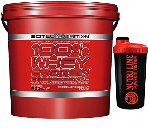 Scitec Nutrition 100% whey protein professional 5 kg Proteine del Siero del Latte + Shaker Nutriline + SCEGLI IL TUO GUSTO! (CIOCCOLATO)