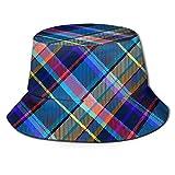 Art Scotland Plaid Rainbow Unisex Impresión Bucket Hat Patrón Sombreros de Pescador Verano Reversible Packable Cap Mujeres Hombres Niña Niño