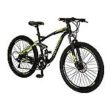 YH-E7 21 Speed Mountain Bike Full Suspension Frame 27.5 Inch Wheels Dual Disc Brakes Bikes for Men (Multi-Spoke Green)