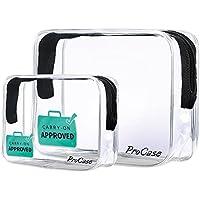 ProCase TSA Aprobado Neceser Transparente, Bolsos Transparentes de un Cuarto de Galón con Cremallera, Bolsas de Aseo para Líquidos Cremas Geles 3-1-1 Kit (Paquete de 2 Unidades, Grande + Pequeño)