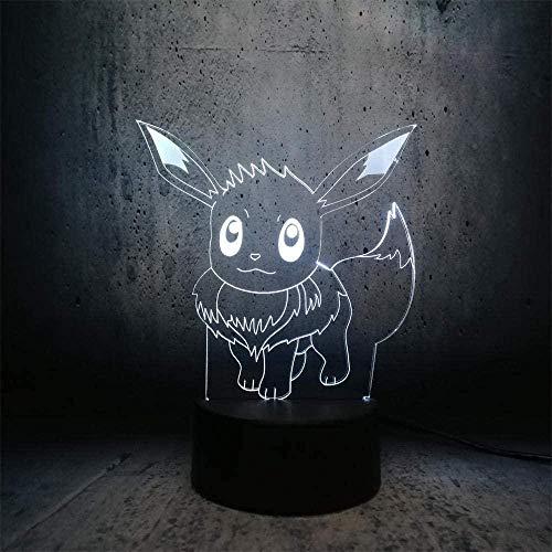 Luz de la noche Exquisito y exquisito colorido 3D luz de noche colorido led exquisito novela moda caliente Pokemon dibujos animados USB figura Eve diversión colorido ch