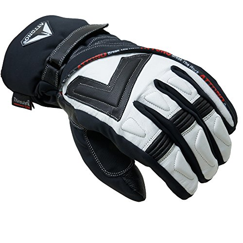 ATTONO Skihandschuhe V01 Ski Snowboard 3 in1 Leder Handschuhe mit Innenhandschuh (L)
