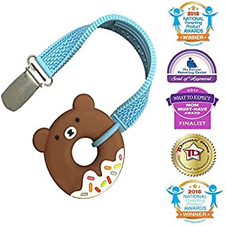 Silli Chews Teething Ring Baby Teething Toys Little Donut Silicone Teether and Clip for Babies - Best Natural Molar Chew Toys Back Teeth Infant Teether for Boys or Girls - Teddy Bear