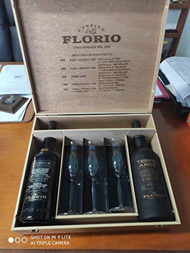 Cantine Florio oggetto da collezione fuori produzione - Cassa in legno con Vino Marsala Terre Arse 1990 Targa Riserva 1840 Semisecco Ambra 1993 e 3 Calici