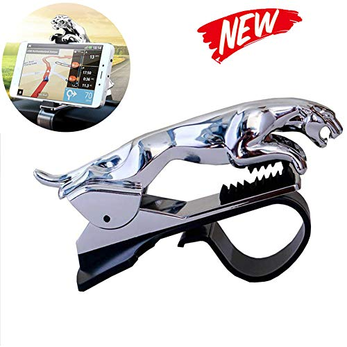 Banma Tech Car Leopard Form Dashboard Phone Holder 360 Degree Phone Mount Stand Bracket-Best Xmas Gifts (Silver)