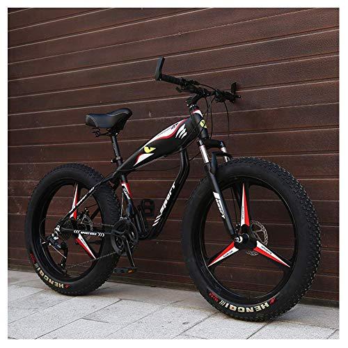 26-Zoll-Mountainbikes, Fat Tire Hardtail Mountainbike, Alurahmen Alpine Fahrrad, Frauen der Männer Fahrrad mit Federung vorne, Schwarz, 24 speichen lalay ( Color : Black , Size : 27 Speed 3 Spoke )