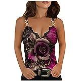 hainJS - Camiseta de tirantes para mujer, holgada, de verano, sin mangas, elegante, con estampado floral rosa Small/Medium