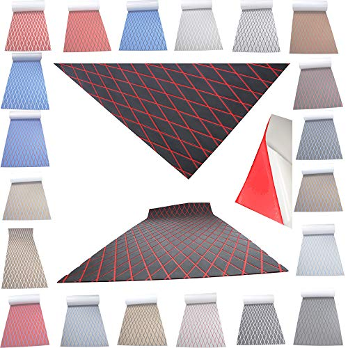 Haiping Line High-end Latest Products Self Adhesive EVA Foam Faux Teak decking Decorative Cushions Boat Floor Non-Slip mat Boat Flooring (Dark Gray and red Stripes, 74.8