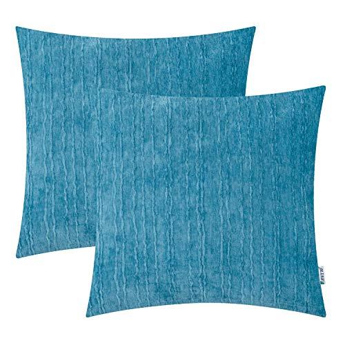 HWY 50 Dekorativer Überwurf-Kissenbezug, weich, bequem, Kaschmir, gestreiftes Muster, quadratisch, Kissenbezüge für...