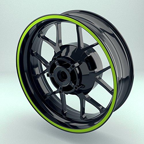OneWheel Felgenrandaufkleber 10mm Motorrad & Auto (15-19 Zoll) - Farbe wählbar - 10 Felgenstreifen für Vorder- & Hinterreifen (Grün)