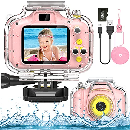 Hopeace Kids Camera Underwater Waterproof Camera for 3-12 Year Old Girls 1080IPS 2 Inch Mini Kids HD Video Digital Indoor Outdoor Action Cameras Birthday Gifts for Girls Toys Pink with 32G SD Card