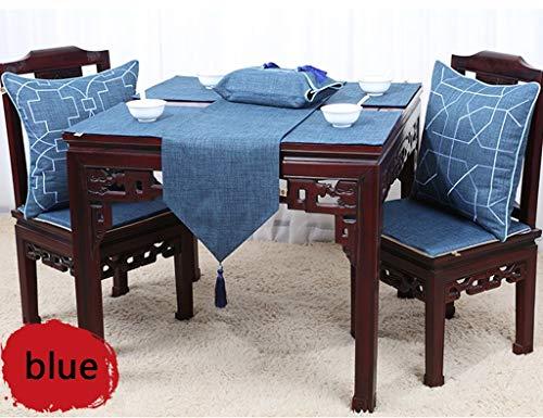 MU Home Tischläufer, Hotel Restaurant Tischdecken, Tischläufer Nordischer Stil Couchtisch Gedeckte Tischdecke Tischsets Baumwolle und Leinen Einfarbig Esstisch Einfach Modern,Blau,33 × 150 cm