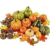 Funmix 141PCS ハロウィーンかぼちゃ装飾 感謝祭シミュレーションカボチャ 秋の装飾カボチャ 小道具人工フェイクカボチャ カエデの葉 撮影小道具