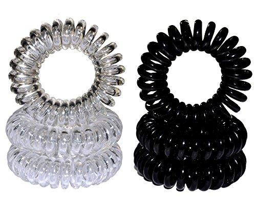 Miya - Juego de 6 gomas para el pelo de alta calidad en negro y cristal transparente, 3 unidades de cada uno, cable de teléfono elástico, mini espiral de plástico, coleteros de teléfono, joyas para el pelo, pulseras